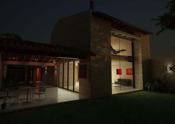 3D Casa Ladrillo Común Visto Nocturna