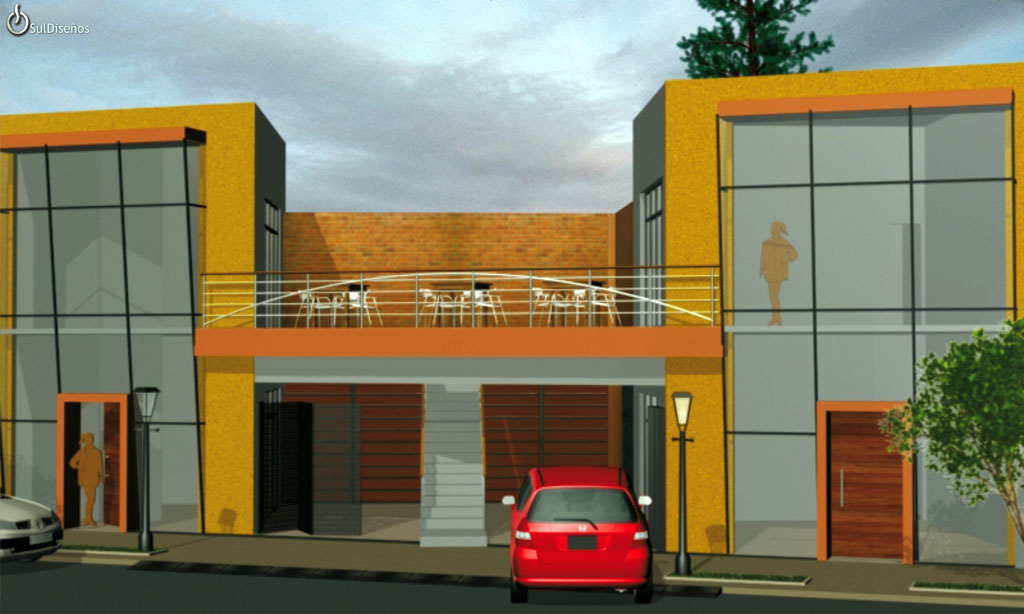 3d fachada locales comerciales for Local arquitectura