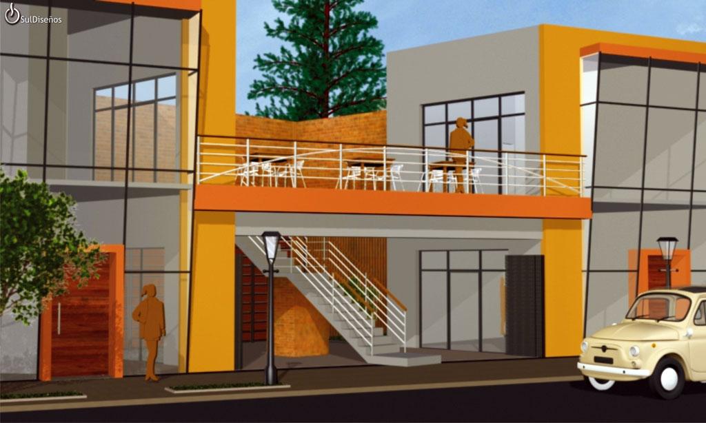 3d fachada locales comerciales
