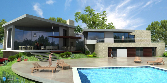3d vivienda quincho piscina for Software diseno piscinas