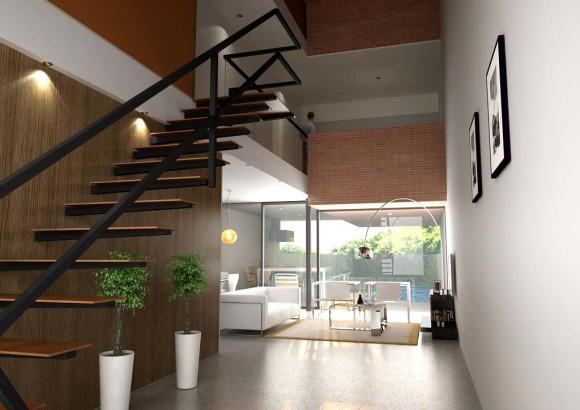 Interior duplex detalle escalera