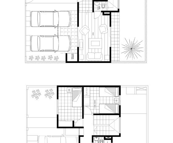 Planta casa 2 dormitorios