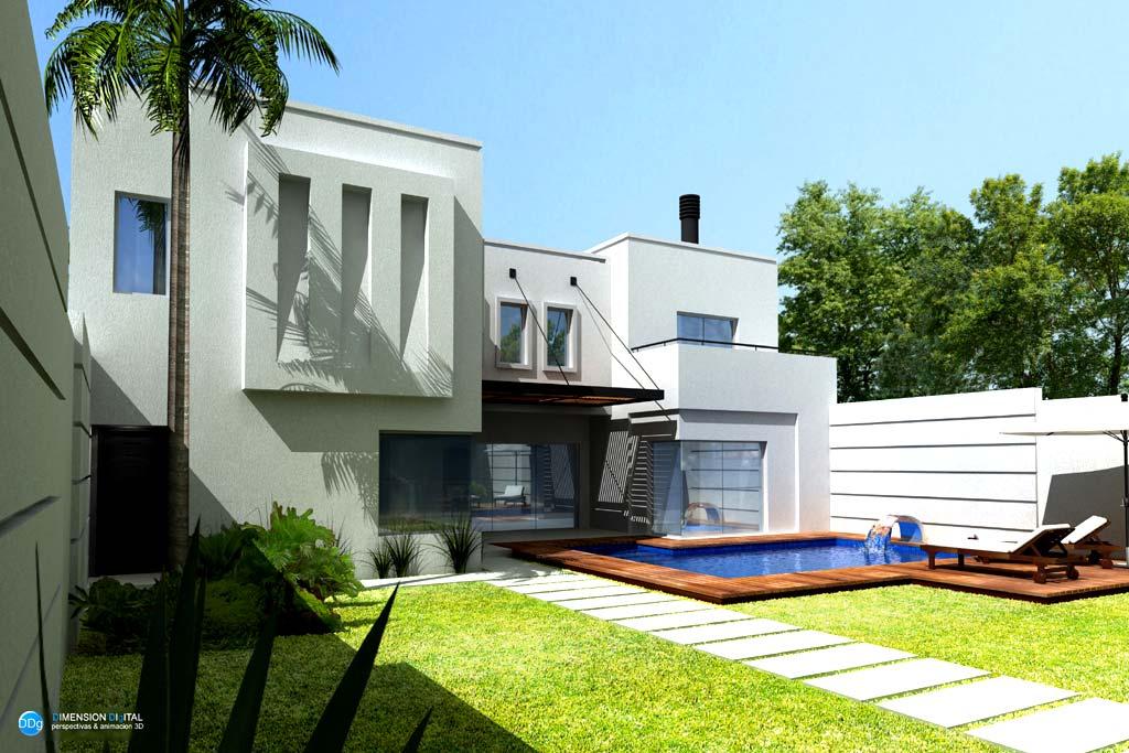 3d vivienda minb render paraguay for Render casa minimalista