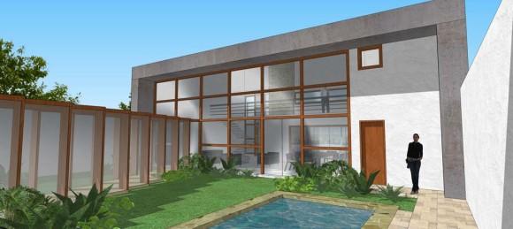 Anteproyecto de vivienda entre medianeras, con organizacion tipo Loft en volumen frontal.