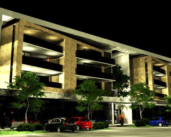 Edificio de Departamentos Fachada Nocturna Diseño Arquitectura