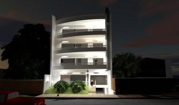 Edificio de Departamentos LUMA vista nocturna