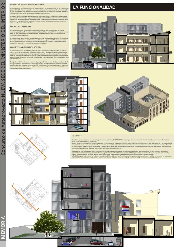 memoria concurso ampliación restauración recuperación patrimonial cortes fachadas axonométricas