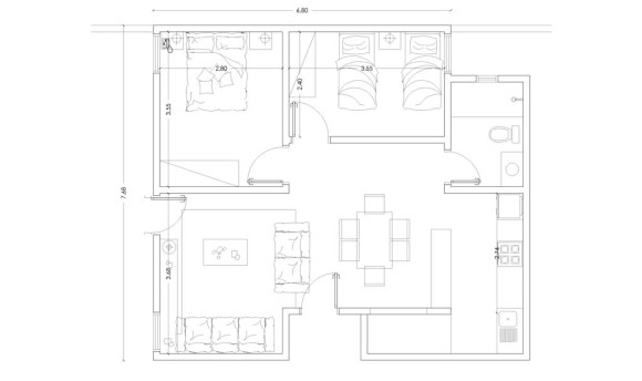 Planos viviendas económicas mínimas de interés social planta arquitectónica