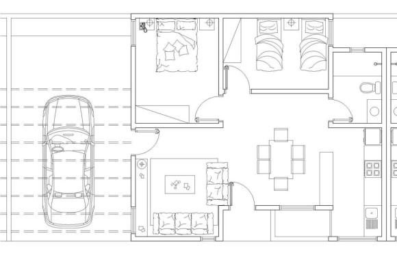 Planos vivienda interés social mínima, planta corte casa