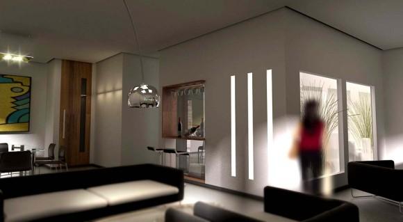 3D Vista Interior Residencia Moderna Vivienda Casa