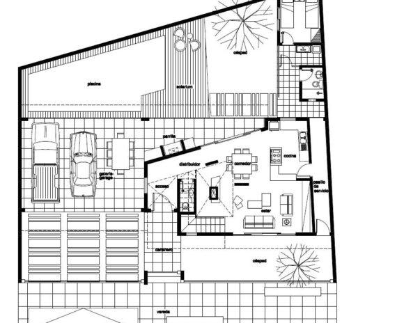 planta baja vivienda modernista moderna vanguardista minimalista