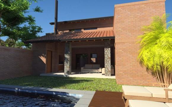 Fachada Vivienda Ladrillo Visto, rústico, tejas techo, piedra y piscina, patio y quincho con barbacoa