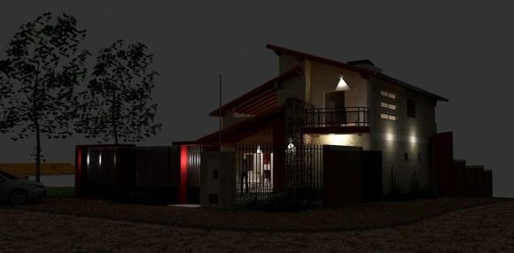 Vivienda Aguero Nocturna Fachada Arquitectura tradicional paraguay