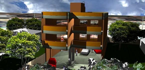 Edificio de departamentos en tres niveles con estacionamiento en planta baja
