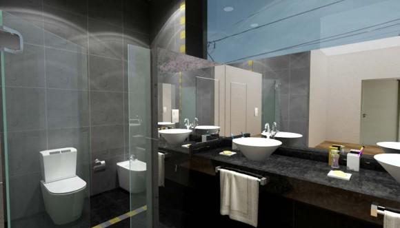 Representación del aspecto final aproximado que tendría el baño terminado (dos propuestas de azulejos diferentes)