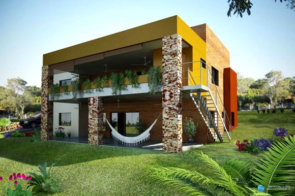 Vista posterior vivienda en volúmenes arquitectura exterior