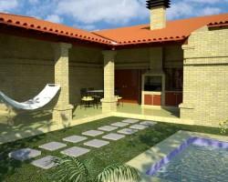 Tipica vivienda paraguaya insertada en el Chaco