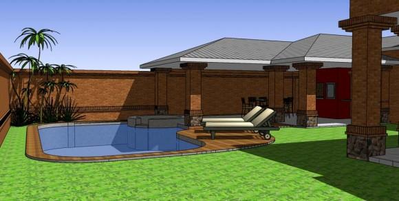 Vivienda Unifamiliar patio con piscina arquitectura exterior