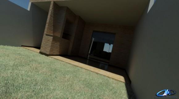 3D INTERIOR DUPLEX MASKOI vista exterior patio con parrillero ladrillo visto rustico