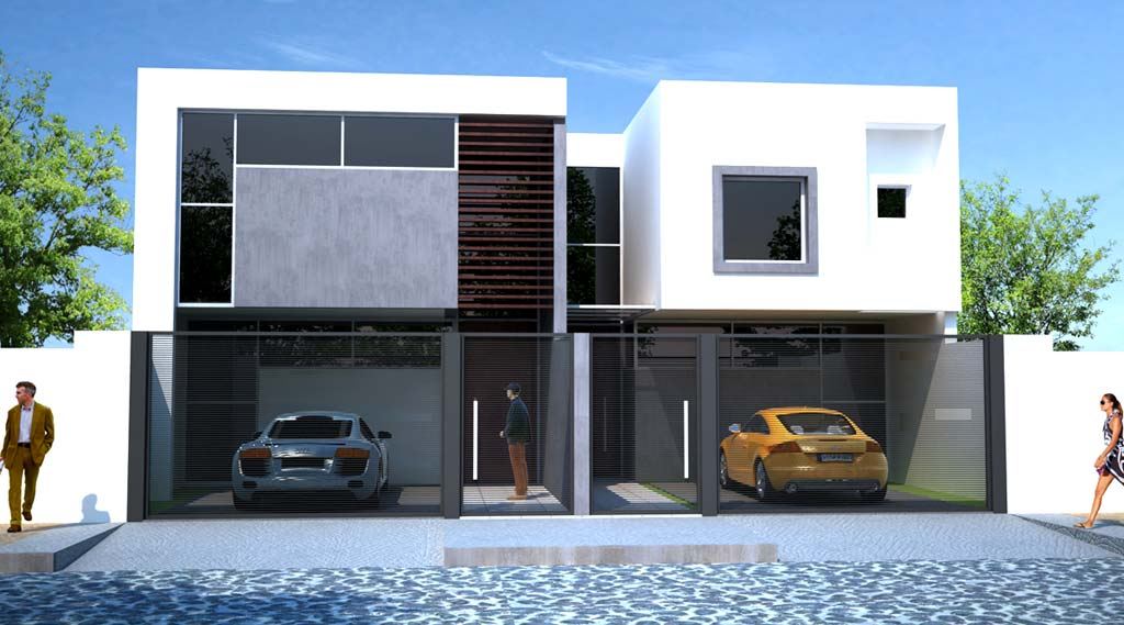 3d anteproyecto duplex diferenciados for Fachadas duplex minimalistas