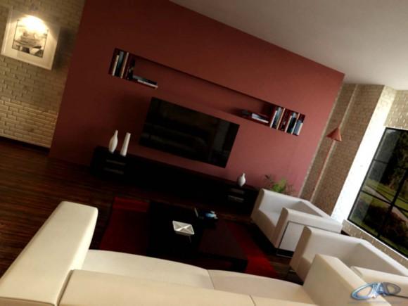 3D Interior Sala de Estar Render