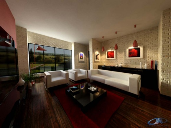 Propuesta para sala de estar de una vivienda diseño interior render arquitectura
