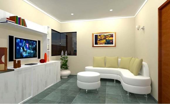 3D Vivienda Tradicional Render estar interior diseño construcción
