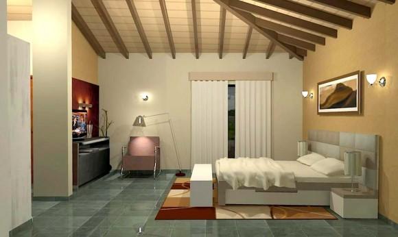 3D Vivienda Tradicional Render dormitorio constructora