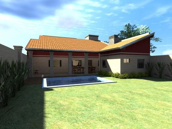 Renderizado de exterior piscina casa arquitectura