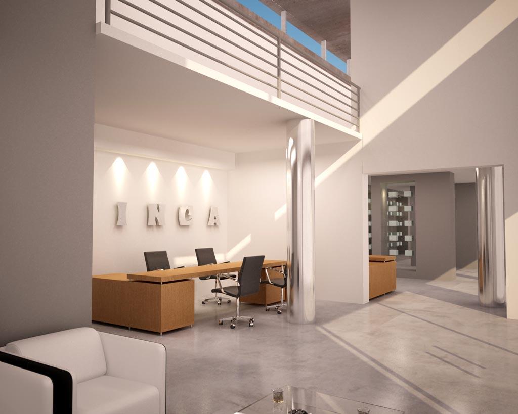 3d anteproyecto comercio y oficinas render arquitectos for Planos de oficinas administrativas