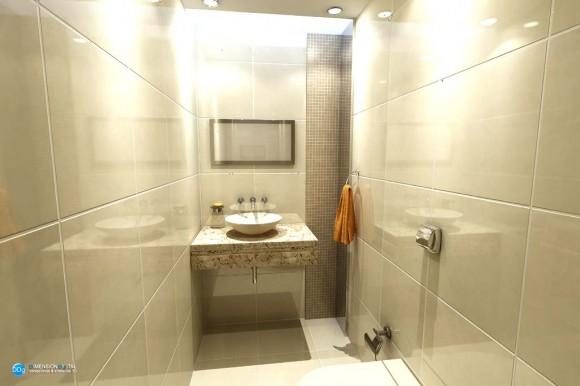 Baño matrimonial y baño social de una vivienda render arquitectura