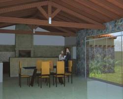 Quincho trasero en vivienda tradicional arquitectura render
