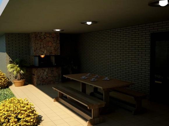 Interior Diseño Quincho Barbacoa Parrilla Constructora Arquitectura Render