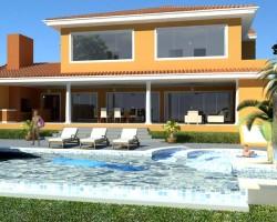 3D Vivienda Clásica vista patio con piscina constructora construcción