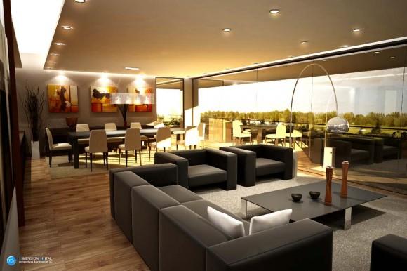 3D Interiores Edificio Altos de Francia Render