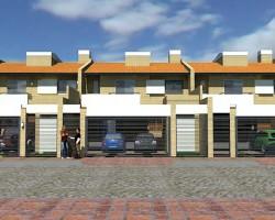 Duplex viviendas en tira, repeticiones, dos plantas, arquitectura construcción tradicional