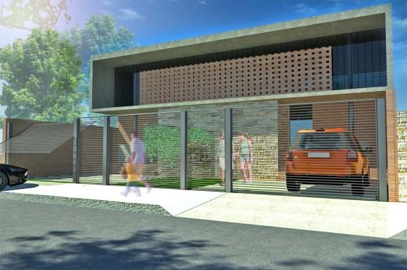 3D Duplex moderno proyecto arquitectura render construcción