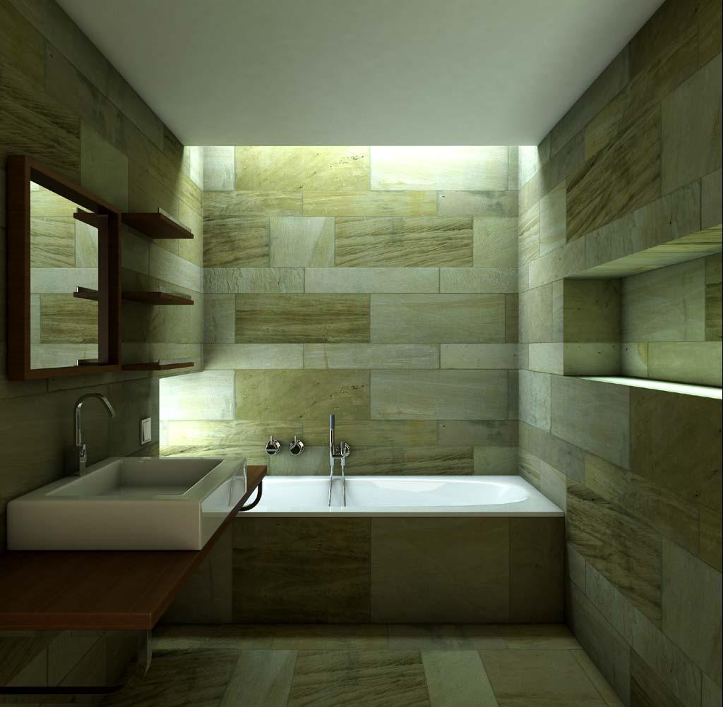 3D Baño Minimalista Diseño Interior Render