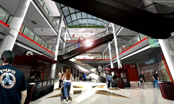 Espacio central galería comercial arquitectura
