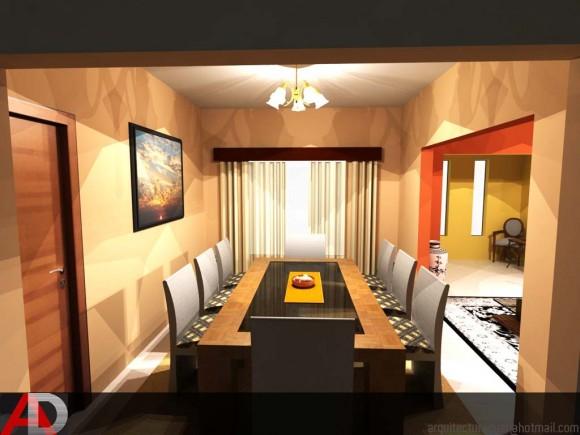 3D Diseño de Comedor de Vivienda Unifamiliar Render