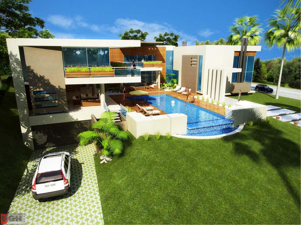 Residencia diseño de patio jardín con piscina