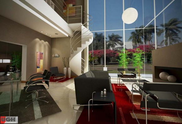 3D Diseño Interior Residencia Country Render