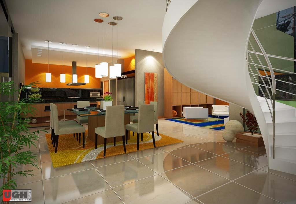 3D Diseño Interior Comedor Living Residencia Country