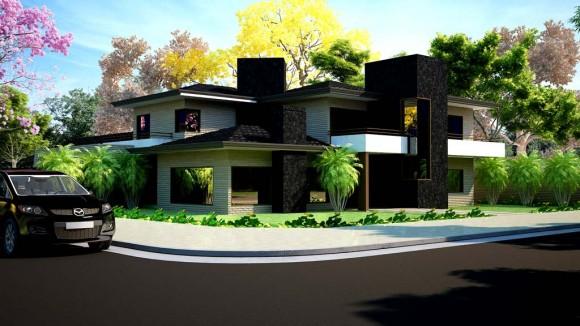 3D Casa Unifamiliar Fachada