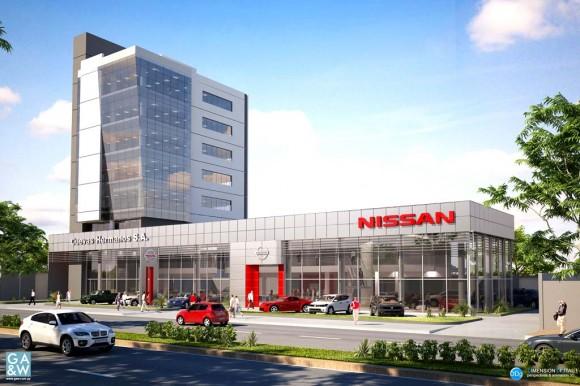 3D edificio corporativo Cuevas Hermanos para Nissan Render