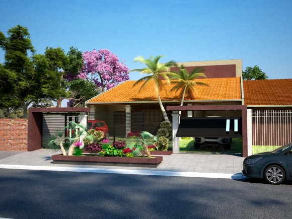 3D Casa Unifamiliar Tradicional Render