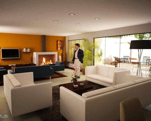 3D Vivienda Yvyra'i Sala Diseño Interior Render