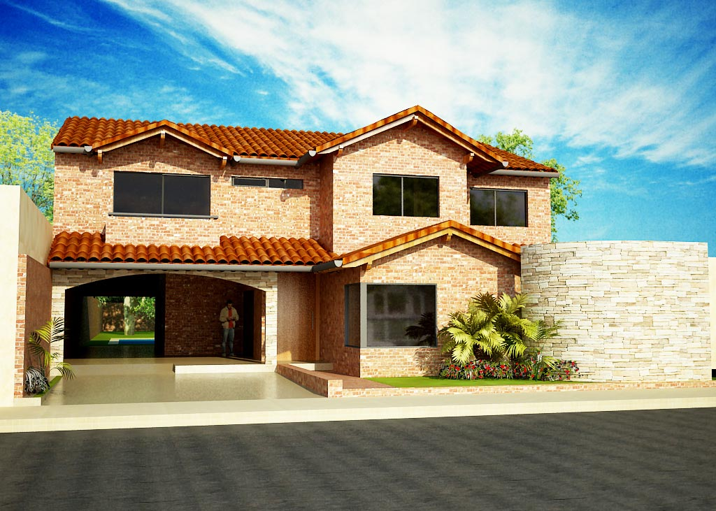 3d vivienda tradicional de ladrillo visto y techo de for Modelos de techos con tejas