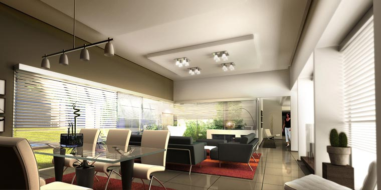 3d dise o interior de vivienda unifamiliar estar for Estar comedor disenos