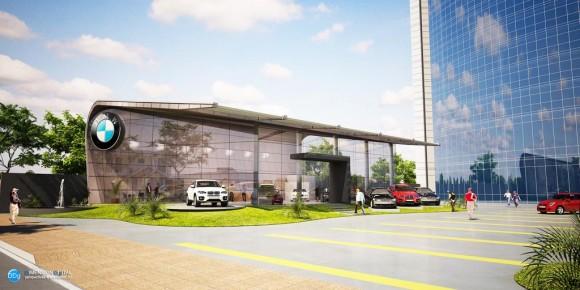 3D Showroom BMW Render Arquitectura Comercial